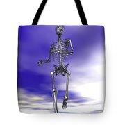 Steel Running Skeleton On Wet Sand Tote Bag