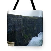 Steep Sheer Sea Cliff's Known As The Cliff's Of Moher Tote Bag