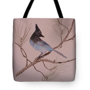 Stellar Jay On Ponderosa Branch Tote Bag