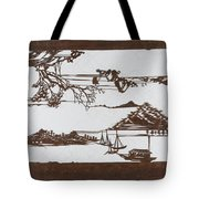 Stencil With Pattern Of Seascape On White Ground Tote Bag