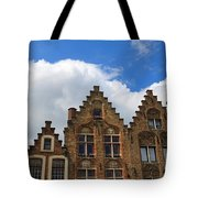 Stepped Gables Of The Brick Houses In Jan Van Eyck Square Tote Bag
