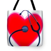 Stethoscope And Plastic Heart Tote Bag