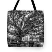 Still Faithful B W God Bethany Presbyterian Church The Old Oak Tree Greene County Georgia Art Tote Bag