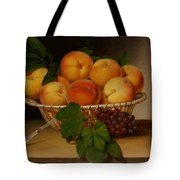 Still Life - Basket Of Peaches Tote Bag