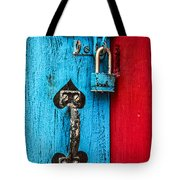 Still Life In Blue And Red Tote Bag