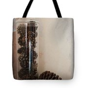 Still Life Of A Glass Jar Of Pine Cones Tote Bag