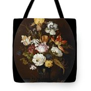 Still Life Of Flowers In A Glass Vase Tote Bag