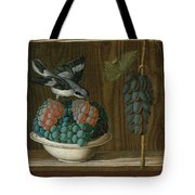 Still Life Of Grapes With A Gray Shrike Tote Bag