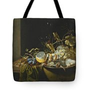 Still Life Of Hazelnuts Grapes Oysters And Other Foods On A Draped Table Tote Bag