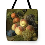 Still Life Of Peaches  Grapes And Plums On A Stone Ledge With A Bird And Butterfly Tote Bag