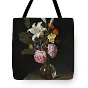 Still Life Of Roses Lilies And Other Flowers In A Glass Vase On A Marble Ledge Tote Bag