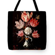 Still Life Of Variegated Tulips In A Ceramic Vase With A Wasp A Dragongly A Butterfly And A Lizard Tote Bag