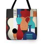 Still Life Paper Collage Of Wine Glasses Bottles And Musical Instruments Tote Bag