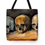 Still Life, Three Skulls Tote Bag
