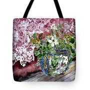 Still Life Vase And Lace Watercolor Painting Tote Bag