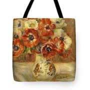 Still Life With Anemones  Tote Bag by Pierre Auguste Renoir