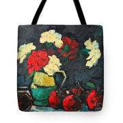 Still Life With Apples And Carnations Tote Bag by Ana Maria Edulescu