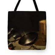 Still Life With Armor Shield Halberd Sword Leather Jacket And Drum Tote Bag
