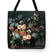 Still Life With Basket Of Flowers Tote Bag