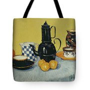 Still Life With Blue Enamel Coffeepot, Earthenware And Fruit, 1888 Tote Bag