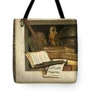 Still Life With Books Sheet Music Violin Celestial Globe And An Owl Tote Bag