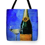 Still Life With Champagne Bottle And Glass Tote Bag