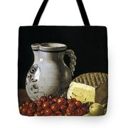 Still Life With Cherries  Cheese And Greengages Tote Bag