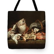 Still Life With Fishes, A Crab And Oysters Tote Bag