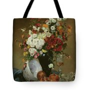 Still Life With Flowers And Pomegranates Tote Bag