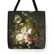 Still Life With Flowers In A Glass Vase Tote Bag