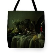 Still Life With Metal Dishes, Fruits And Fresh Flowers Tote Bag
