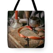 Still Life With Old Book And Metal Dishes Tote Bag