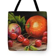 Still Life With Peaches And Cherries  Tote Bag
