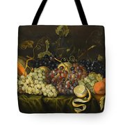 Still Life With Red Black And Green Grapes Tote Bag