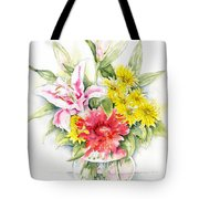 Still Life With Red Zinnia Tote Bag