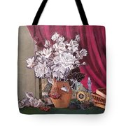 Still Life With Roses And Books Tote Bag