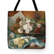 Still Life With Roses In A Cup Ornamental Object And Score Tote Bag