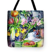 Still Life With Tulips And Apple Blossoms  Tote Bag
