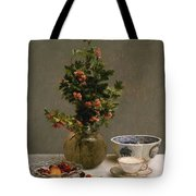 Still Life With Vase Of Hawthorn, Bowl Of Cherries, Japanese Bowl, And Cup And Saucer 1872 Tote Bag