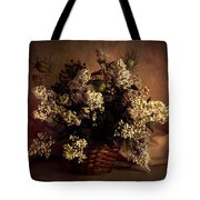Still Life With White Flowers In The Basket Tote Bag
