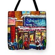 Stilwell's Candy Shop Montreal Memories Lasalle Verdun Winter City Scene Hockey Art Carole Spandau   Tote Bag