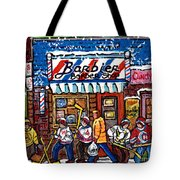 Stilwell's Candy Stop Winterscene Painting For Sale Montreal Hockey Art C Spandau Snowy Barber Shop Tote Bag