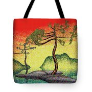 Stippling Geometric Pine 4 Tote Bag