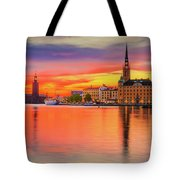 Stockholm Fiery Sunset Reflection Tote Bag