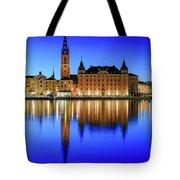 Stockholm Riddarholmen Blue Hour Reflection Tote Bag