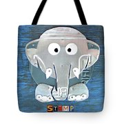 Stomp The Elephant Recycled License Plate Animal Art Tote Bag