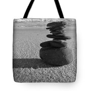 Stone Balance On The Beach In Monochrome Tote Bag