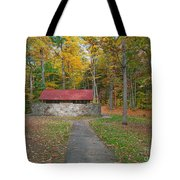 Stone Building In The Park Tote Bag