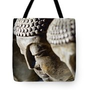 Stone Carved Buddha Faces Tote Bag