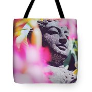 Stone Carved Statue Of Buddha Surrounded With Colorful Flowers Bali, Indonesia Tote Bag